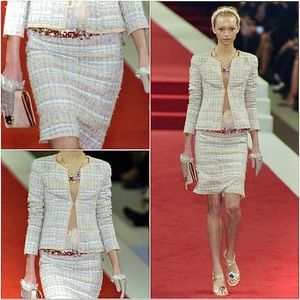 CHANEL Tweed Two-Piece Silk Skirt Suit
